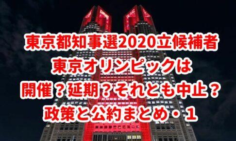 東京都知事選2020立候補者 東京オリンピックは 開催?延期?それとも中止? 政策と公約まとめ・1
