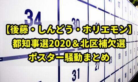 【後藤・しんどう・ホリエモン】都知事選2020&北区補欠選のポスター騒動まとめ