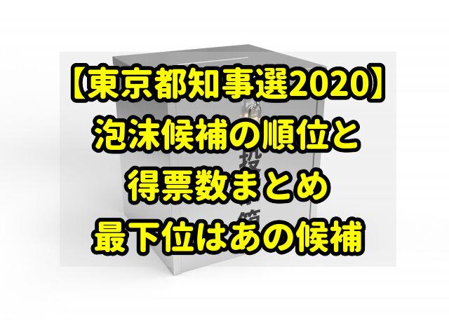 【東京都知事選2020】泡沫候補の順位と得票数まとめ|最下位はあの候補