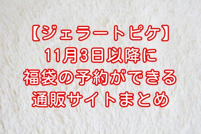 【ジェラートピケ新春福袋2021】11月3日以降に予約ができる通販サイトまとめ